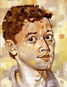 """Scholarship Boy,"" self portrait, oil on canvas board (14 x 11), 1988"