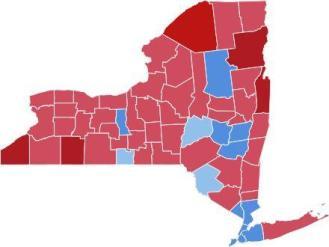 Election of 1880. Garfield/Arthur = Red; Hancock/English = Blue. Hancock carried New York 51 - 48%.