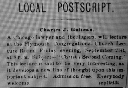 8 Rochester Eveng Express' notice of Guiteau's lecture - Sept. 19, 1877