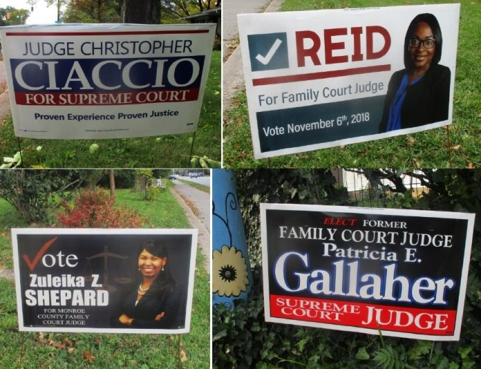 "The signs for Christopher Ciaccio , Fatimat Reid and Zuleika Shepard are on the front lawn of Brighton Town Supervisor Bill Moehle. Patricia Gallagher's sign is on Monroe Avenue in the city. Bill also has a Morelle sign. When I was taking the pictures, a car drove past and the passenger yelled, ""Vote for Maxwell!"""
