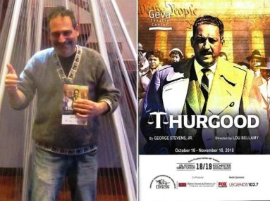 (l) Thumbs up for Thurgood; (r) the playbill