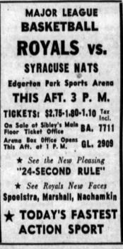 During the inaugural season of the new rule, the Royals advertised it pleasurable appeal. Rochester Democrat and Chronicle, 20 Nov 1954