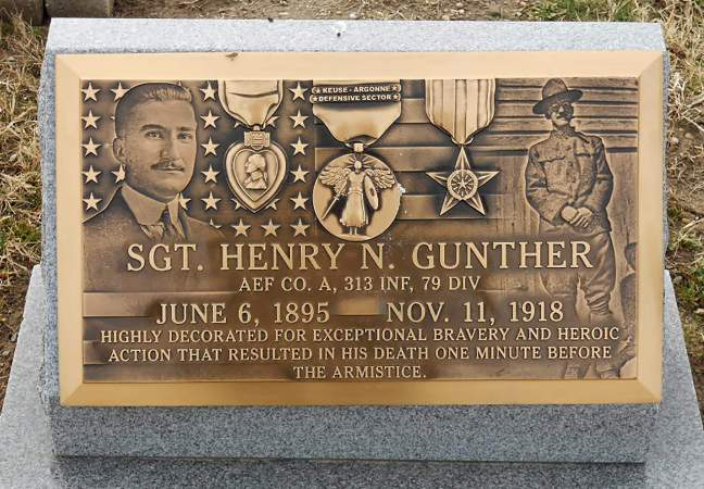 Henry Gunther. Last American killed in WWI.