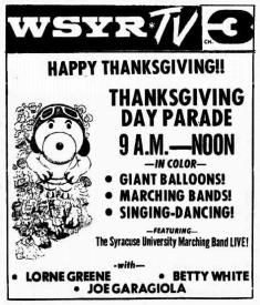 Syracuse newspaper ad for the 1971 Macy's Thanksgiving Day Parade