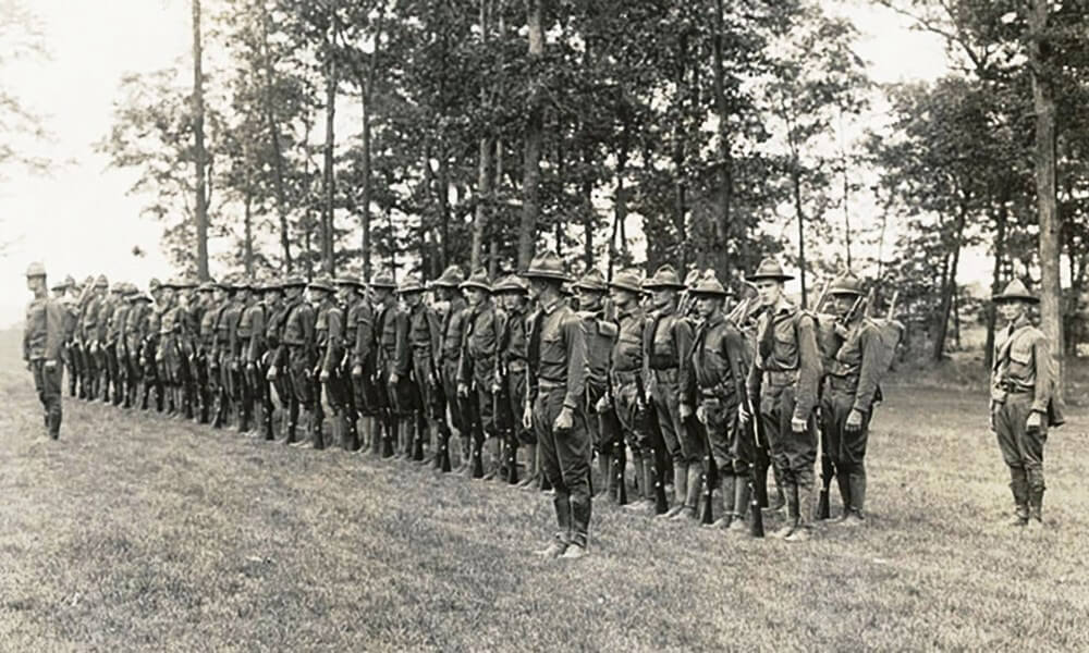 The Students Army Training Corps at the University of Rochester in 1917. November 11, 2018 marks the 100th anniversary of the end of the World War I. (University photo / Department of Rare Books, Special Collections, and Preservation)