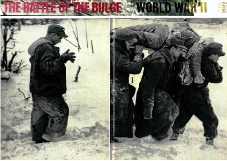 """Spine, front and left from The Battle of the Bulge: World War II (Time Life Books, 1979) by William K. Goolrick and Ogden Tanner. Photo: George Silk for LIFE. Caption: """"The body of an American soldier killed during the Battle of the Bulge is carried from a snowy Ardennes field by German prisoners. The six week battle -- the biggest in Western Europe during the Second World War -- claimed more than 180,000 American and German casualties."""" [From David Kramer's collection, purchased at Rick's on Monroe Avenue, an invaluable military history local resource. Scanned courtesy of the Brighton Memorial Library]"""