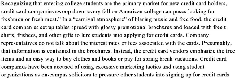 From Maxed Out College Students: A Call To Limit Credit Card Soliciations On College Campuses, pages