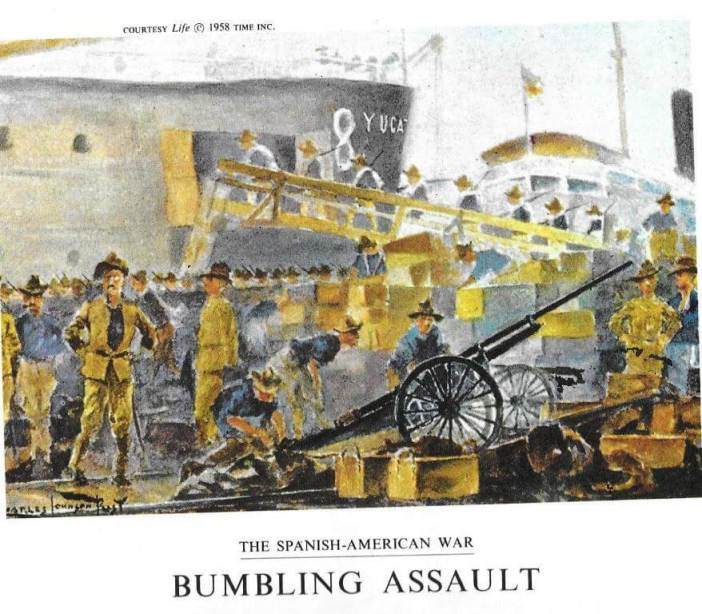 Roosevelt (left) as his ship is prepared for disembarkment in Tampa. All the paintings are by Charles Johnson Post, a young volunteer/newspaper artist who took his notebook to Cuba. In 1958, Post would publish the illustrations in The Little War of Private Post from American Heritage Illustrated