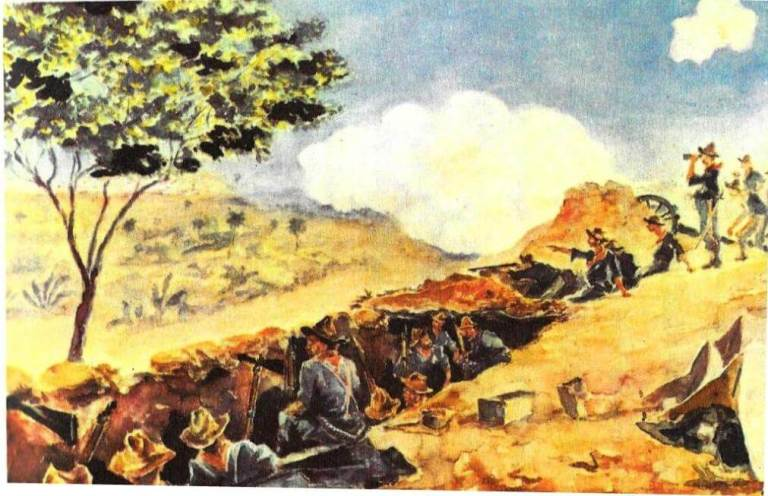 American troops preparing for the charge up the San Juan Heights outside Santiago [American Heritage Illustrated]