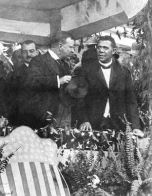 1905 when Theodore Roosevelt visited Tuskegee and stood beside Booker T. Washington.