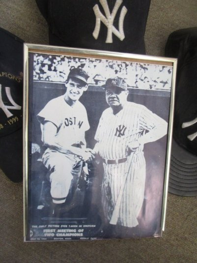 "(left) Ted Williams (right) Babe Ruth. Caption: ""THE ONLY PICTURE EVER TAKEN IN UNIFORM FIRST MEETING OF TWO CHAMPIONS July 13, 1943 BOSTON, MASS. FENWAY PARK"" [From David Kramer's collection]"