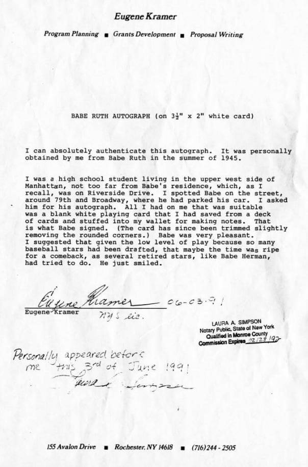 Notarized account of the encounter, 1991