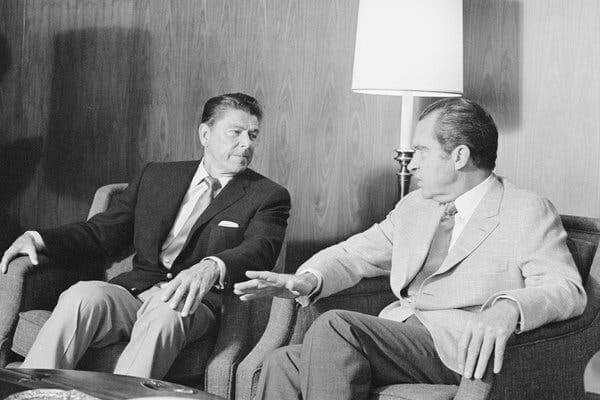 Ronald Reagan, the governor of California at the time, with President Richard M. Nixon in August 1971. A phone call between the two that included racist comments would happen later that year.CreditCreditBettman Archive/Getty Images