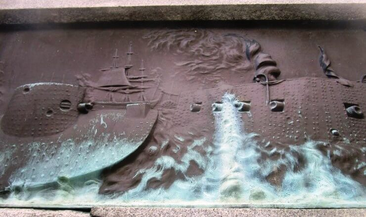 From the Soldier's and Sailor's Monument in Rochester's Washington Square Park. Battle of the Monitor and Merrimack, also called Battle of Hampton Roads, (March 9, 1862), in the American Civil War. [Photo: David Kramer]