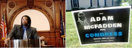 (left) Rochester City Hall 2015 (right) lawn sign in Brighton 2018