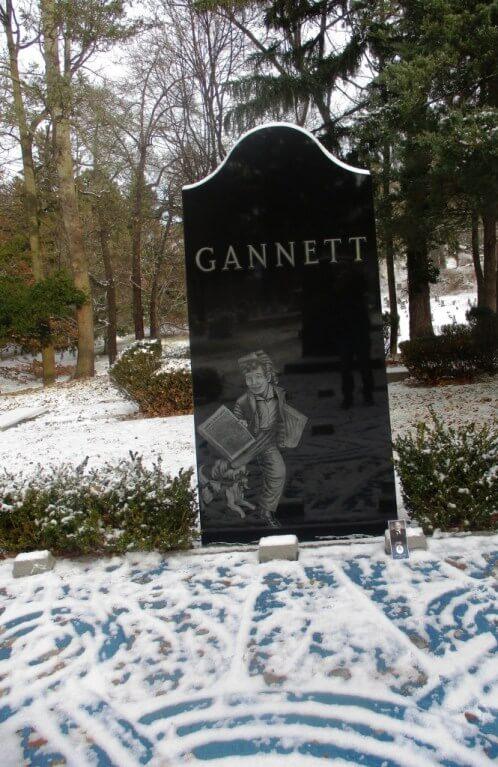 Frank Gannett's gravesite, Mt. Hope Cemetery, Rochester, NY, 12/31/18. [Photo: David Kramer]
