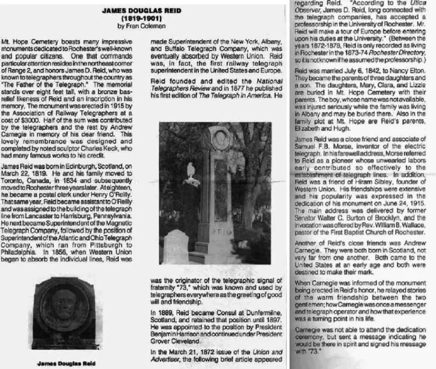 From THE FRIENDS OF MT. HOPE CEMETERY VOLUME 11 NO.1 ROCHESTER, NEW YORK, WINTER 1991 by Fran Coleman