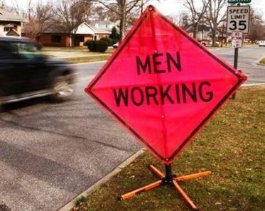 """A female employee at Sinclair Community College raised concerns that a """"Men Working"""" sign was sexist, prompting school officials to demand that the construction company stop working until the sign was removed. (Jonathan Souza   Dreamstime.com)"""