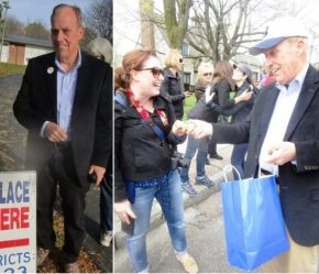 Jim Vogel outside the Brookside Elementary on Election Day and at the Brighton Little League Parade. From Why I voted for Adam Bello and a trip down Talker political memory lane, 2015 - 2019