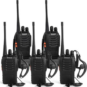 Greaval Rechargeable Walkie Talkies for Adults Long Range with Earpiece 5 Pack