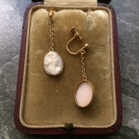 Antique 9ct Gold Cameo Drop Earrings