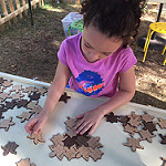 Child playing with wooden tiling turtles