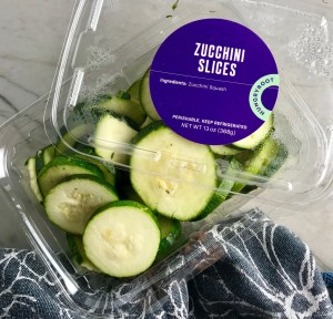 Pre-sliced zucchini from Hungryroot used in Parmesan Zucchini Chips recipe.