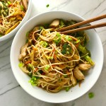 Peanut Teriyaki Chicken and Broccoli stir fry with rice noodles is a simple, delicious, one pan dinner option. It's also Gluten Free! You get the amazing flavor from the combo of peanut butter, teriyaki sauce, and sesame oil mixed with the Chicken, Broccoli, cabbage, and rice noodles...YUM!