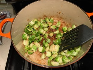 Cooking brussel sprouts for Easy Bacon Brussel Sprouts and Chicken recipe. It's a perfect quick Fall Recipe!  It has a creamy sauce filled with salty bacon, earthy and almost nutty seared brussel sprouts, and hearty healthy chicken. Serve over rice (or Quinoa or pasta!).