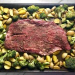 Raw flank steak on sheet pan in center of potatoes and broccoli. This Flank Steak Recipe with Potatoes & Broccoli is an easy and delicious Sheet Pan Dinner.  It has a flavorful rub and a tangy, light Garlic Chive Crema!