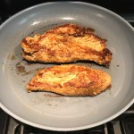 Marinated Mexican Chicken cooking in skillet. This marinade is an easy, make-ahead, and delicious recipe! The chicken is infused with so much smokey, savory flavors from the fresh garlic, chili powder, and cumin.  #marinade #chicken #easydinners