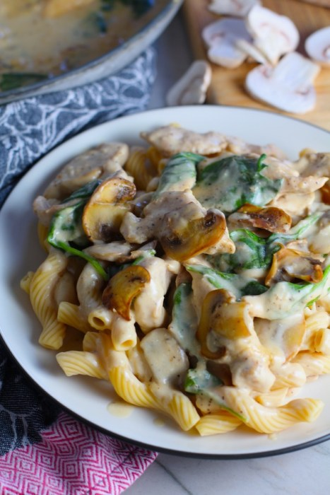 Chicken Stroganoff on a plate with Cavatappi pasta, mushrooms, and spinach. It has a thick, creamy, savory mushroom sauce with a touch of tangy sour cream. #chickendinners #chickenrecipes #familydinners #dinnerideas
