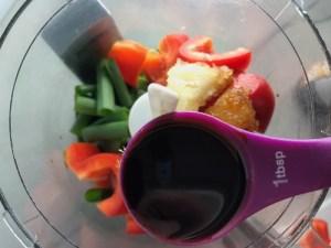Ingredients in food processor for Teriyaki Meatballs with Veggie Stir Fry, and rice noodles. #asianmeatballs #teriyaki #noodles #familydinner #easydinners #dinnerideas