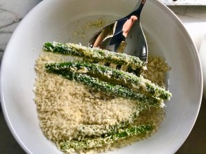 Making Parmesan Green Bean Fries