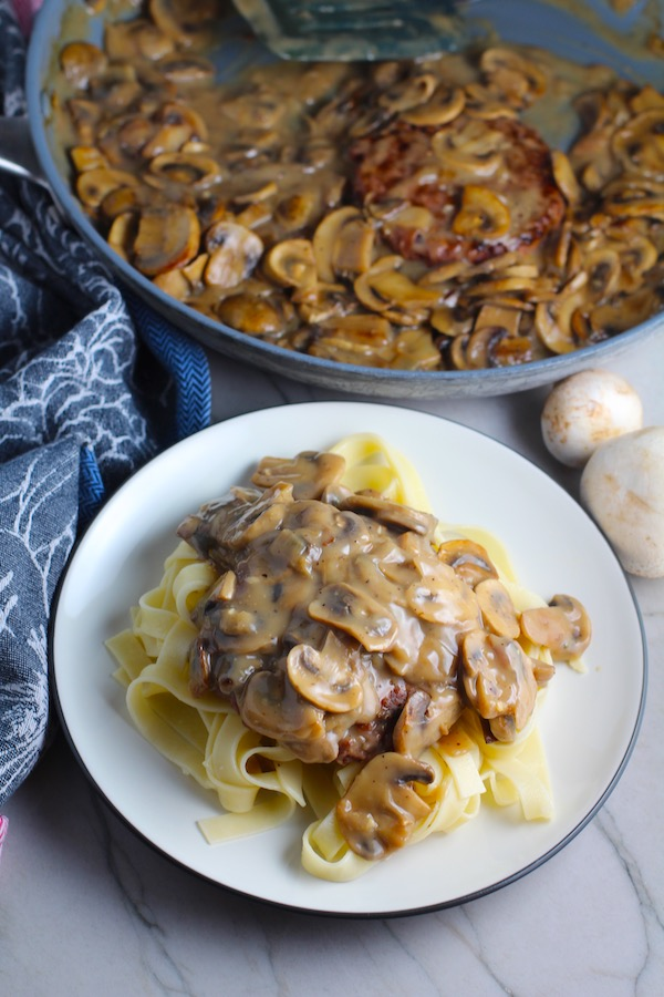 Mushroom Sauce over pasta. #vegetarian #healthydinner #dinnerideas #mushrooms