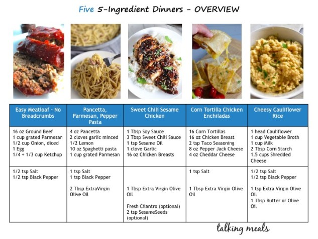 Five, 5-Ingredient Dinners you can freeze with grocery list