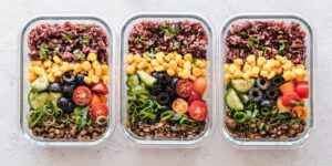 identical meal prep containers.