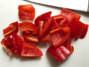 Cut red pepper for Garlic Steak Kabobs. #beefkabobs #steakkabobs