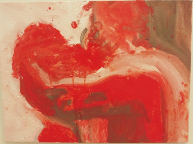 """Nicole Wittenberg """"Red Kiss"""" 2015, oil on canvas board,12x16"""""""