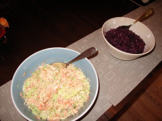 Cole slaw & braised red cabbage