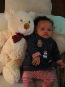 Amayah loves her new teddy