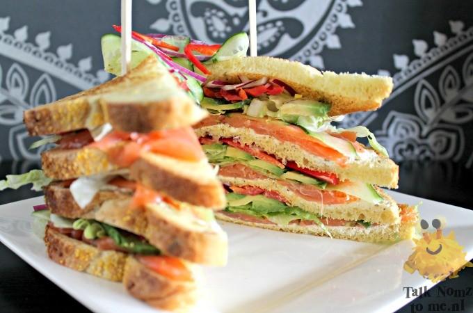 Gerookte zalm clubsandwich