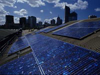 """Queen Victoria Markets Solar Energy. Photo: © City of Melbourne """"Zero net emissions by 2020 - Update 2008"""""""