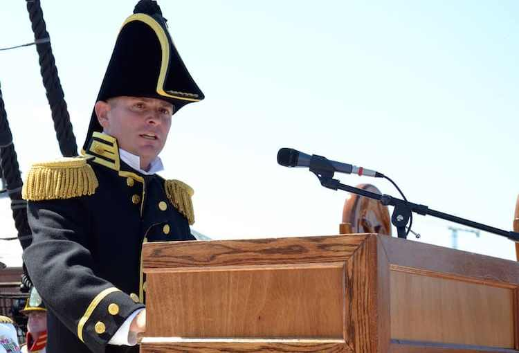 Robert S. Gerosa, Jr., the 74th commanding officer of USS Constitution, delivers remarks during Constitution's change of command ceremony in Charlestown Navy Yard.