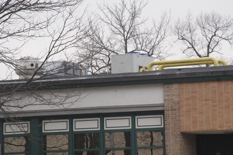 HVAC unit on rooftop of Albert Leonard Middle School