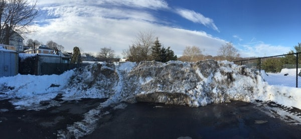Mountain of snow piled up by Flavio LaRocca to block East Street access to other property owners