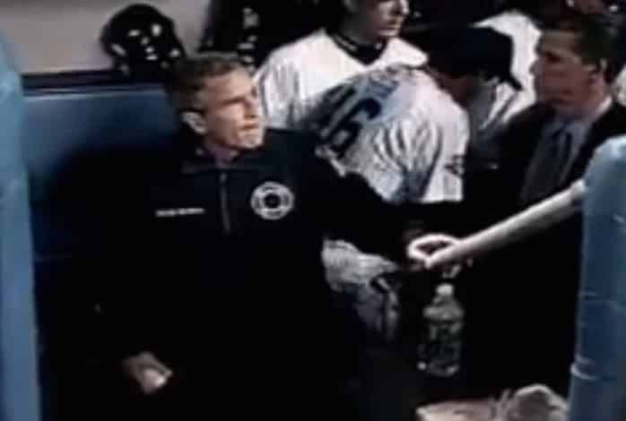 President George W. Bush in Yankee Dugout Before Game 3 of 2001 World Series