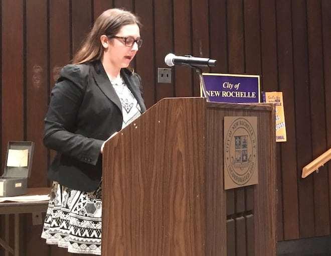 Kayla Kosack addresses New Rochelle City Council on November 9, 2016