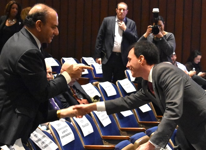 New Rochelle Mayor Noam Bramson Greets Farooq Kathwari at Last Night's State of the City Address