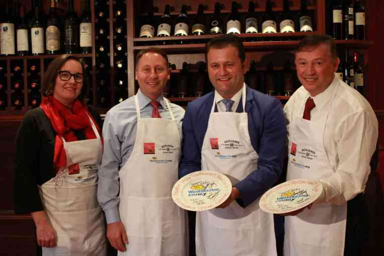 (Pictured left): From left to right, Westchester County Executive Robert P. Astorino joined Janet Crawshaw, publisher of The Valley Table magazine with Benjamin Prelvukaj and Benjamin Sinanaj, owners of Benjamin Steakhouse, to kick off Hudson Valley Resta